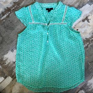 Gorgeous Gap flutter cap teal sleeve blouse XS